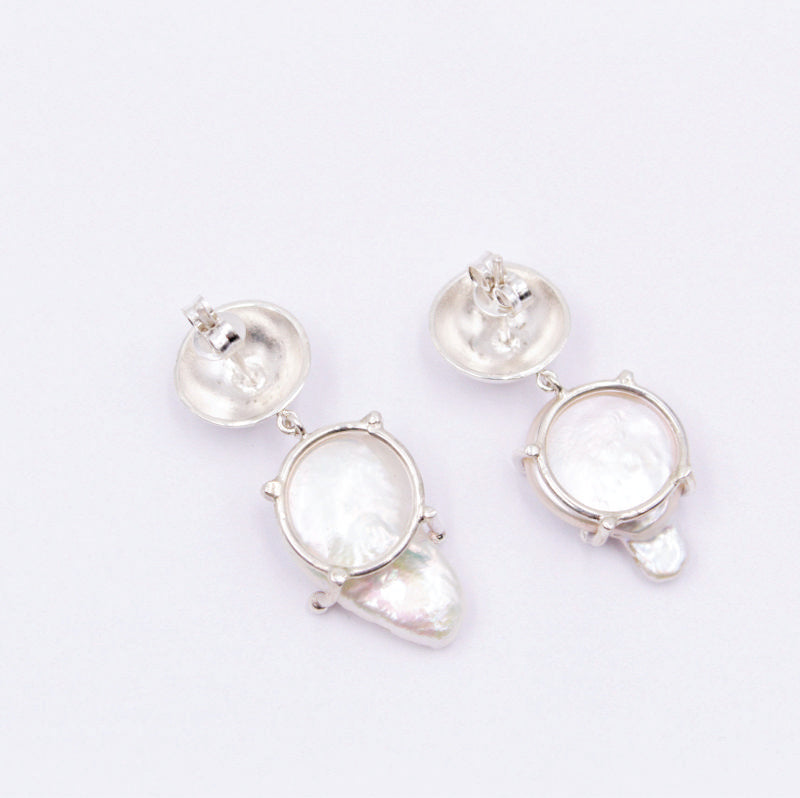 Natural pearl baroque earrings in sterling silver
