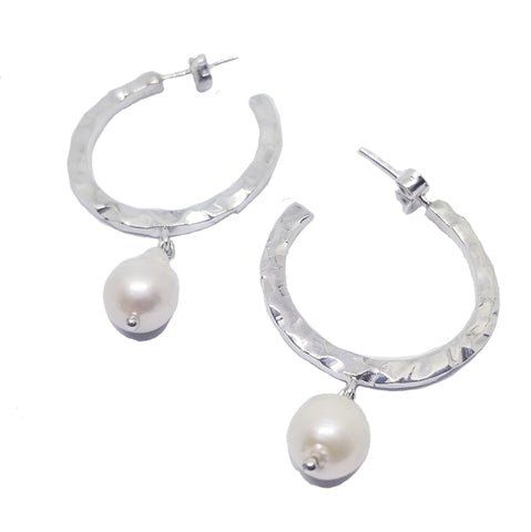 925 silver natural pearl hoops