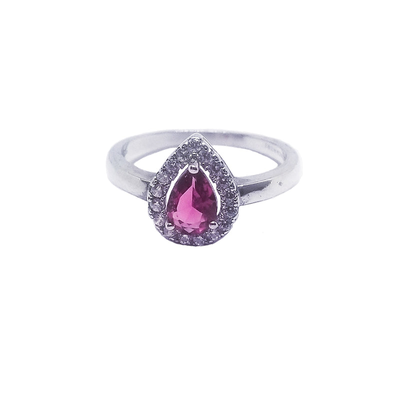 Ruby pink cz sterling silver ring
