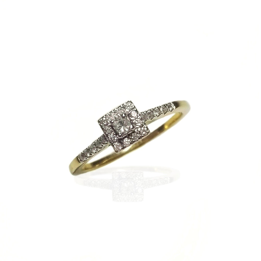 Yellow gold 14k diamond engagement ring duo