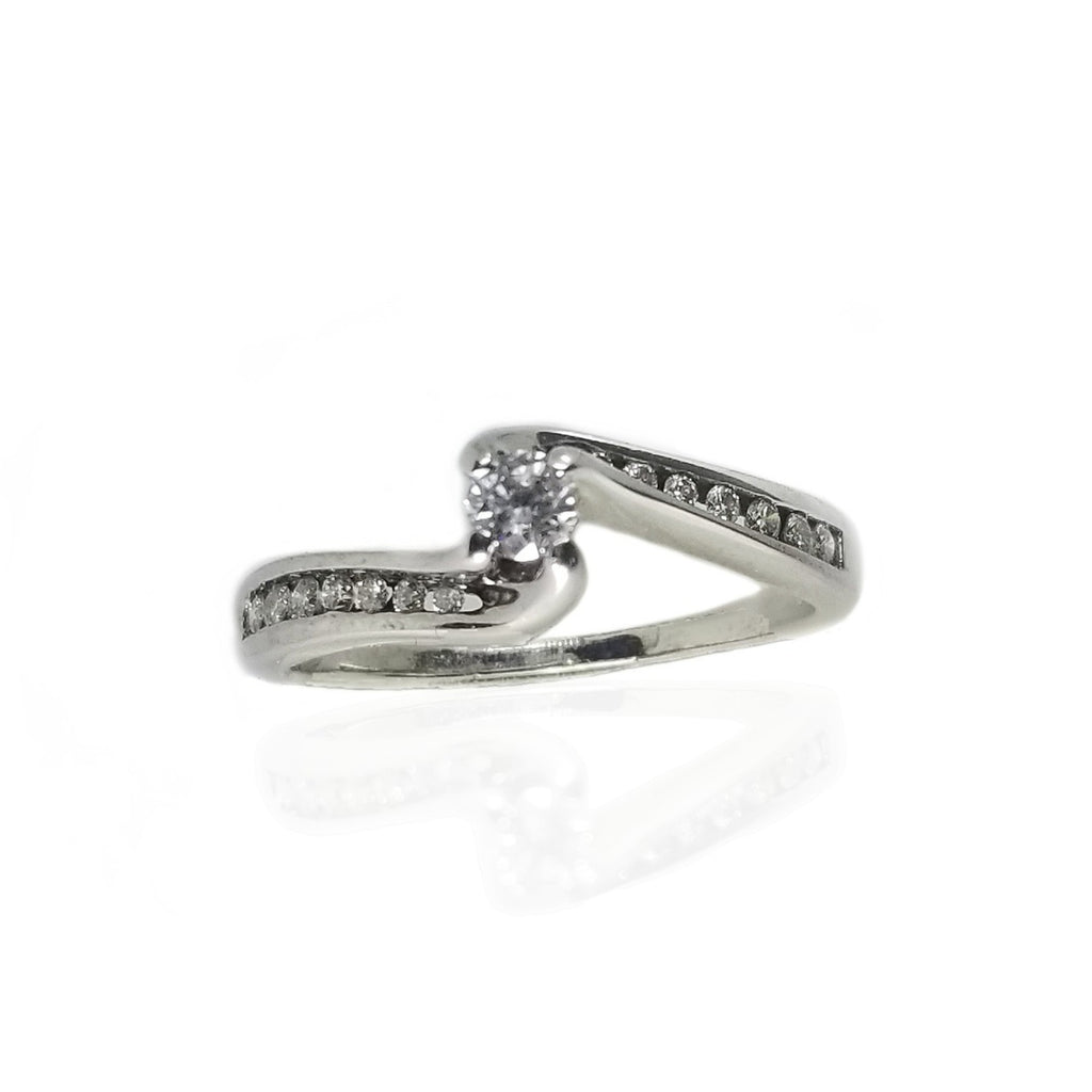 White gold modern engagement ring