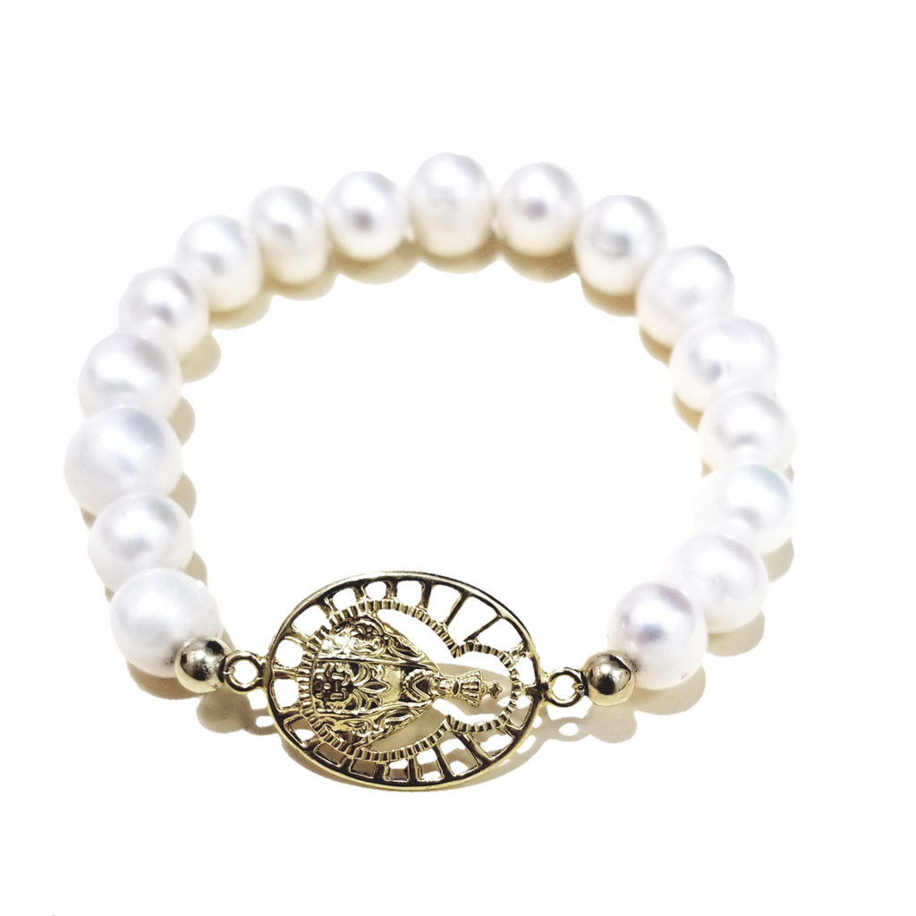 Virgin of Suyapa Bracelet with Pearls