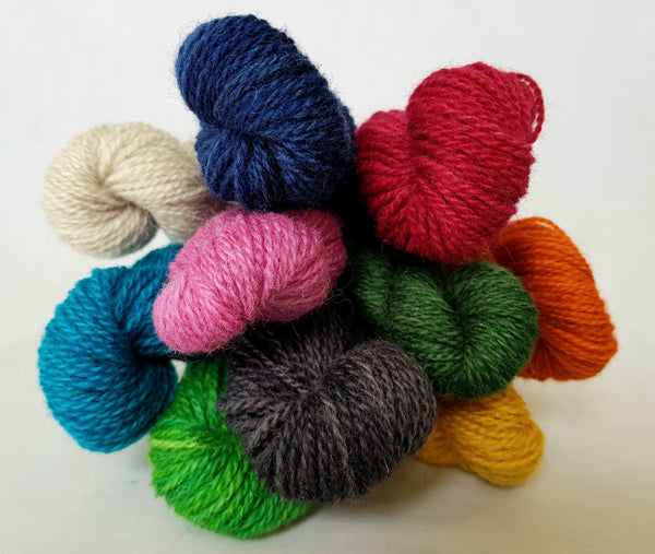 4ply yarn miniskein, 20g, hand dyed Welsh Mule and Welsh Bluefaced Leicester yarn