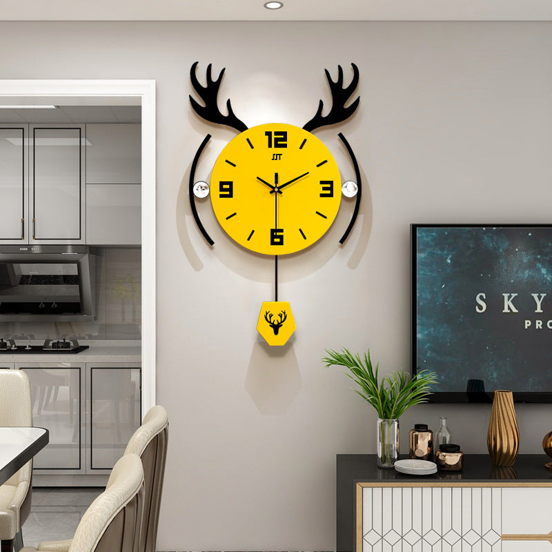 Fashion Creative Deer Head Nordic Style Living Room Wall Clock