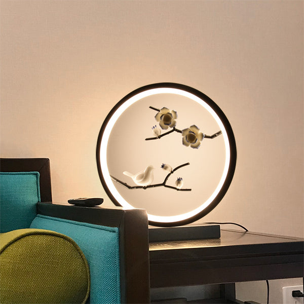 New Chinese table lamp warm bedroom bedside lamp creative classical art led decorative lamp living room den hotel