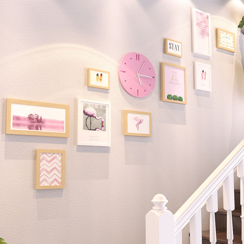 Nordic Wall Photo Frame with Pink Clock