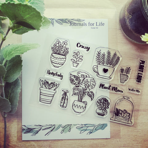 plant lady, journals for life, clear stamps
