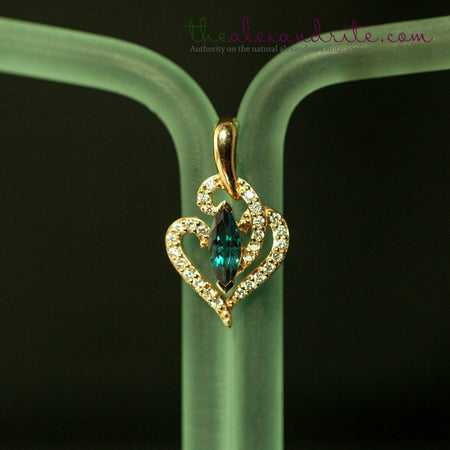 0.76ctw Natural Alexandrite Diamond 18K Yellow Gold Pendant