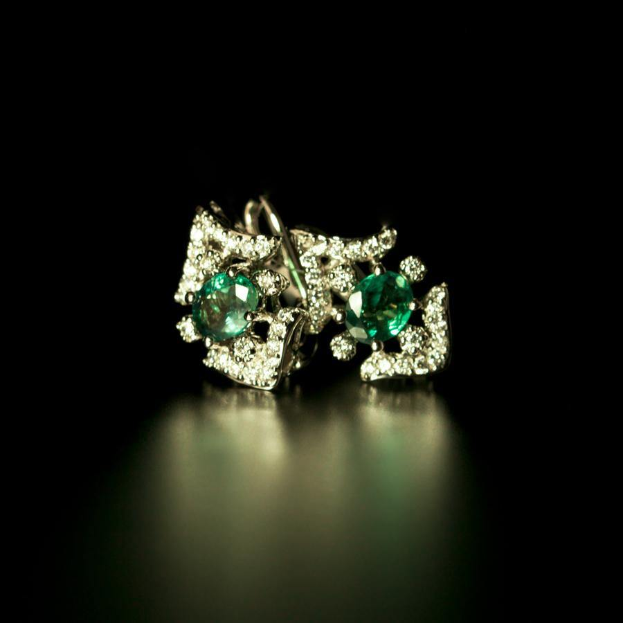 1.74ctw Brilliant Natural Alexandrite Diamond 18k White Gold Earrings