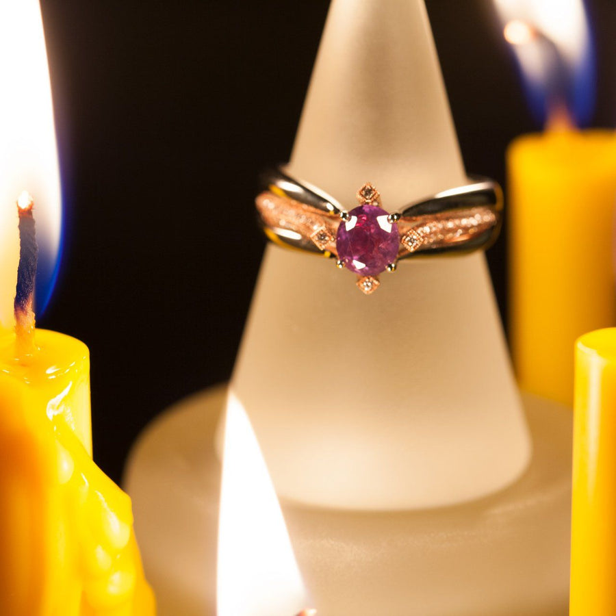 June Birthstone! Exquisite! Antique Natural Alexandrite Diamond 18k Rose&White Gold Ring