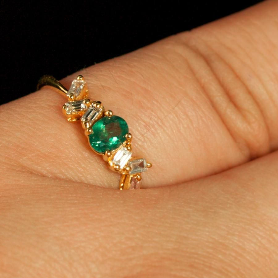 June Birthstone! $3500 Natural Alexandrite Diamond 18K Yellow Gold Stackable Ring