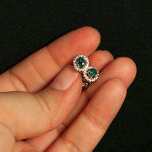 Brilliant Natural Alexandrite Diamond 18k White Gold Stud Earrings