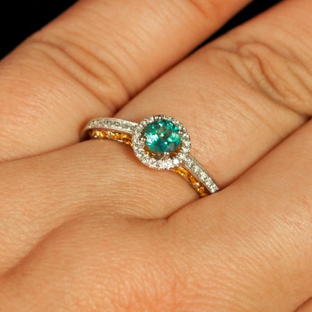 June Birthstone! Natural Alexandrite Diamond 18k White and Yellow Gold Ring