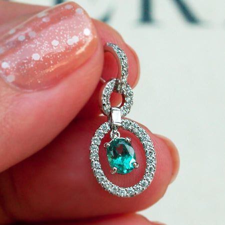 June Birthstone! $4100 Brilliant Natural Alexandrite Diamond 18k White Gold Pendant