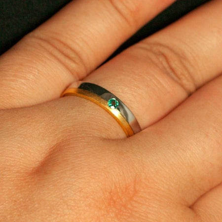 Natural Alexandrite Wedding Band Ring, Two Toned 18k Gold White&Yellow, size 8