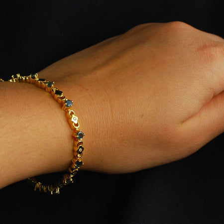 3.00ct Natural Alexandrite Diamond 18K Yellow Gold Bracelet