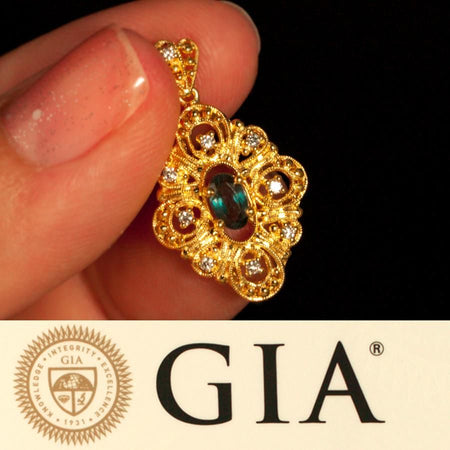 Natural Alexandrite Diamond 18k Yellow Gold Filigree Pendant GIA certified