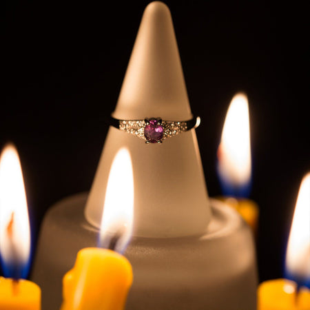 Extremely Rare 100% Color Change Natural Alexandrite Diamond 18k Gold Ring