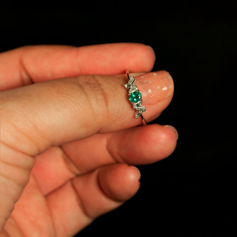 June Birthstone! $3500 Natural Alexandrite Diamond 18K White Gold Stackable Ring