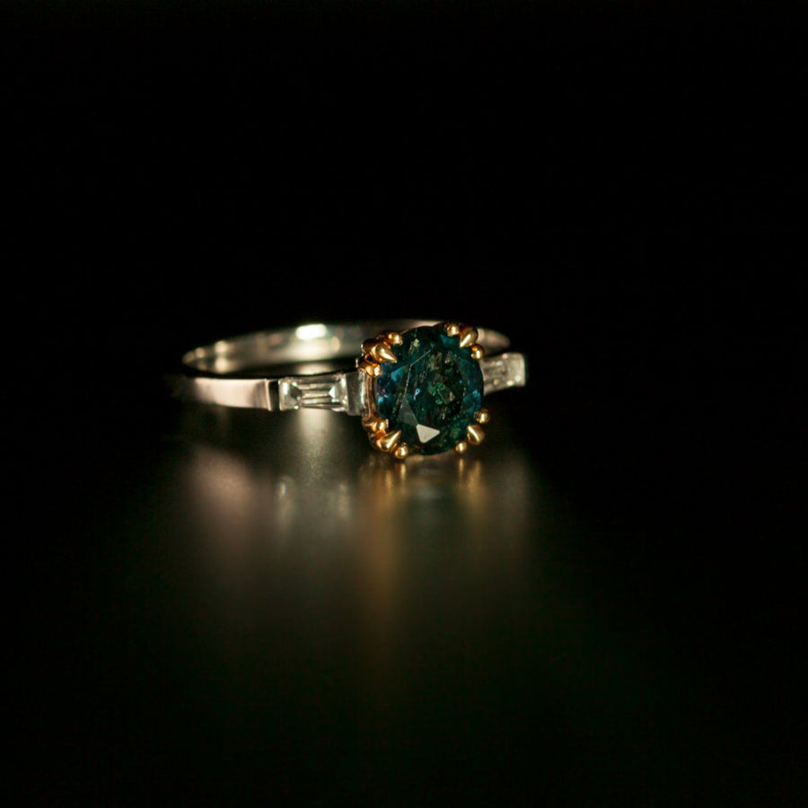 June Birthstone! 100% Color Change Natural Alexandrite Diamond Platinum Ring