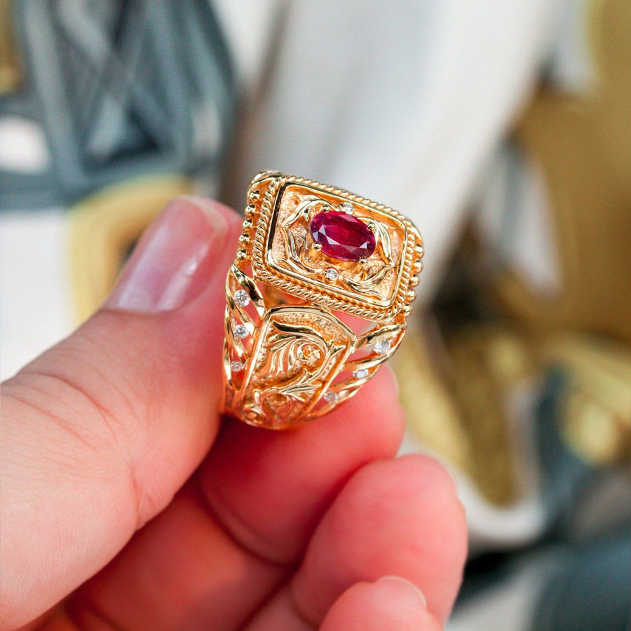 Extremely Rare Natural Unheated Pigeon Blood Ruby Diamond 18k Gold Mens Ring