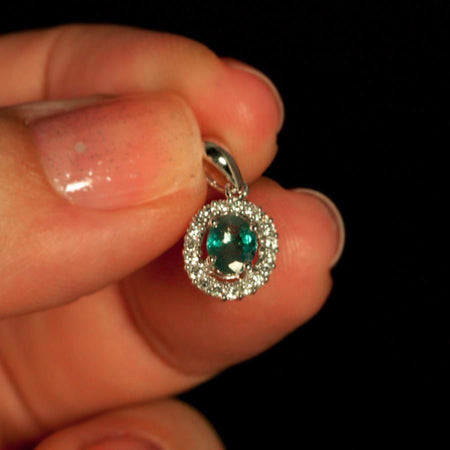 June Birthstone! Natural Alexandrite Diamond 18k White Gold Pendant