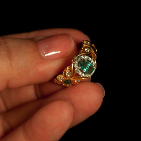 June Birthstone! 1.37ctw Natural Alexandrite Diamond 18k Gold Filigree Ring