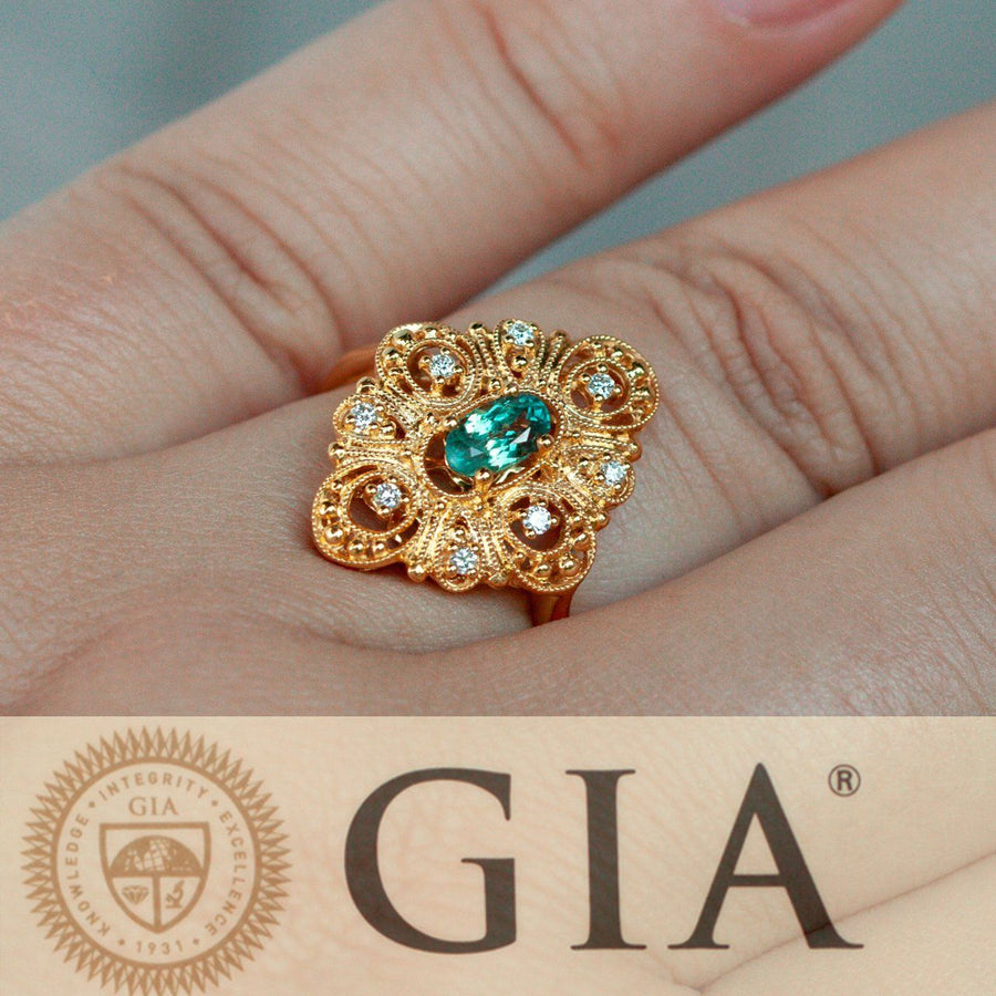 Natural Alexandrite Diamond 18k Yellow Gold Filigree Ring, GIA certified