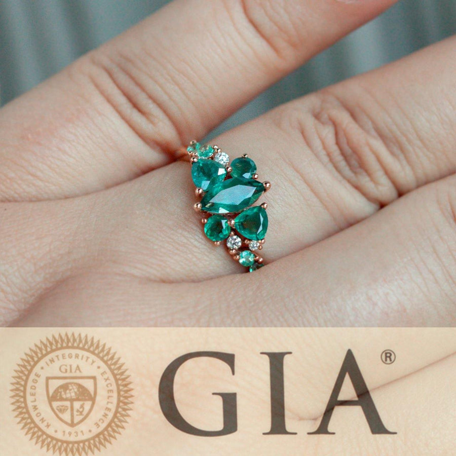 1.61ctw Natural Alexandrite Diamond 18k Rose Gold Cluster Ring, GIA certified