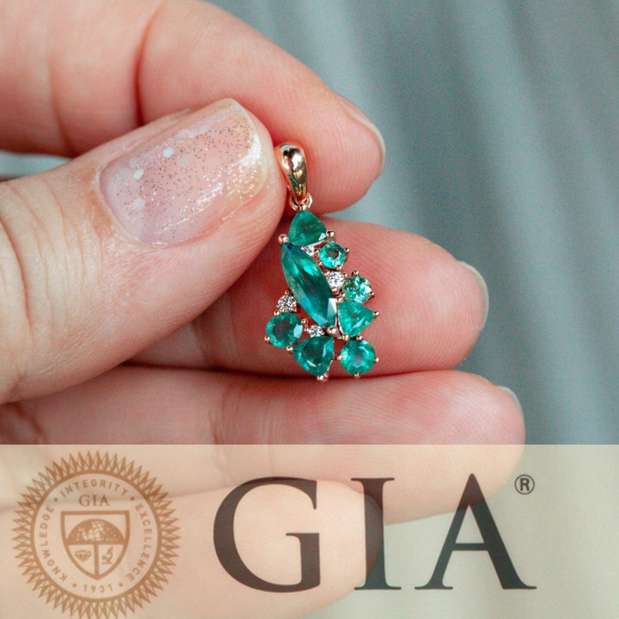 1.81ctw Natural Alexandrite Diamond 18k Rose Gold Cluster Pendant, GIA certified