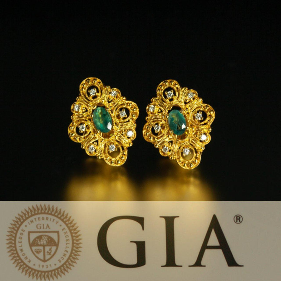 Natural Alexandrite Diamond 18k Yellow Gold Filigree Set, GIA certified