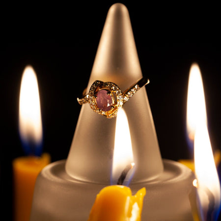 June Birthstone! Natural Alexandrite Diamond 18k Yellow Gold Ring