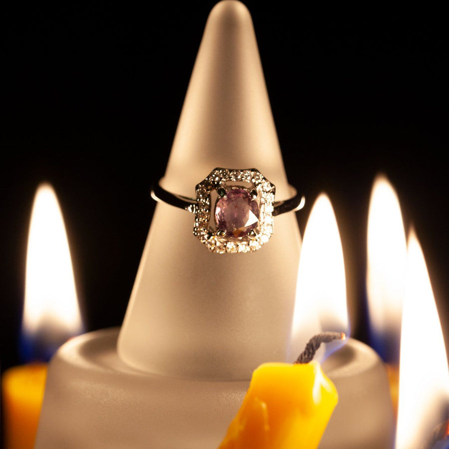 June Birthstone! 1.08ctw Natural Alexandrite Diamond 18k Gold Ring
