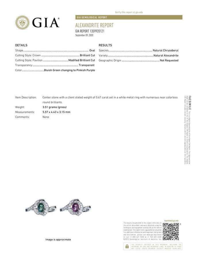 Natural Alexandrite Diamond 18k White Gold Ring