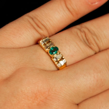 June Birthstone! Natural Russian Alexandrite Diamond 18k Yellow Gold Unisex Ring