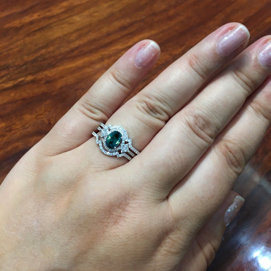 Natural Alexandrite Diamond 18K White Gold 3 Rings Engagement&Wedding Set