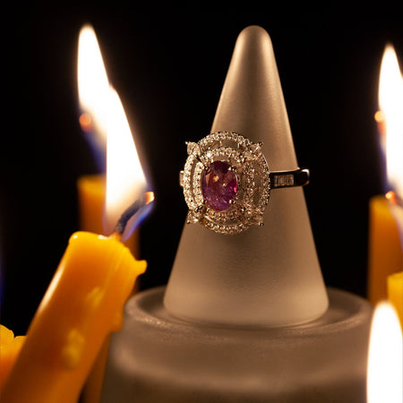 June Birthstone! Rare! 1.98ctw Strong Color Change Natural Alexandrite Diamond 18k Gold Ring