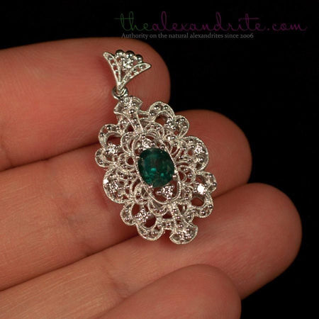 Natural Alexandrite Diamond 18K White Gold Pendant