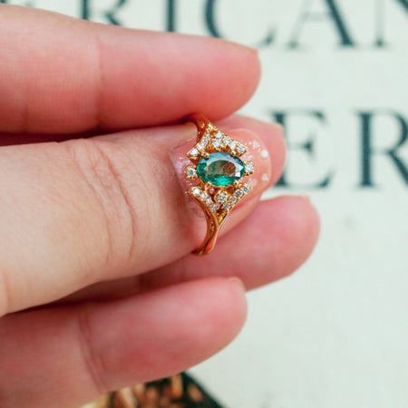 JUNE BIRTHSTONE! DESIGNER $6,000 NATURAL ALEXANDRITE DIAMOND 18K GOLD RING