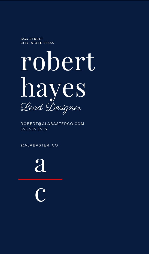Alabaster Business Card | Customizable Canva Template