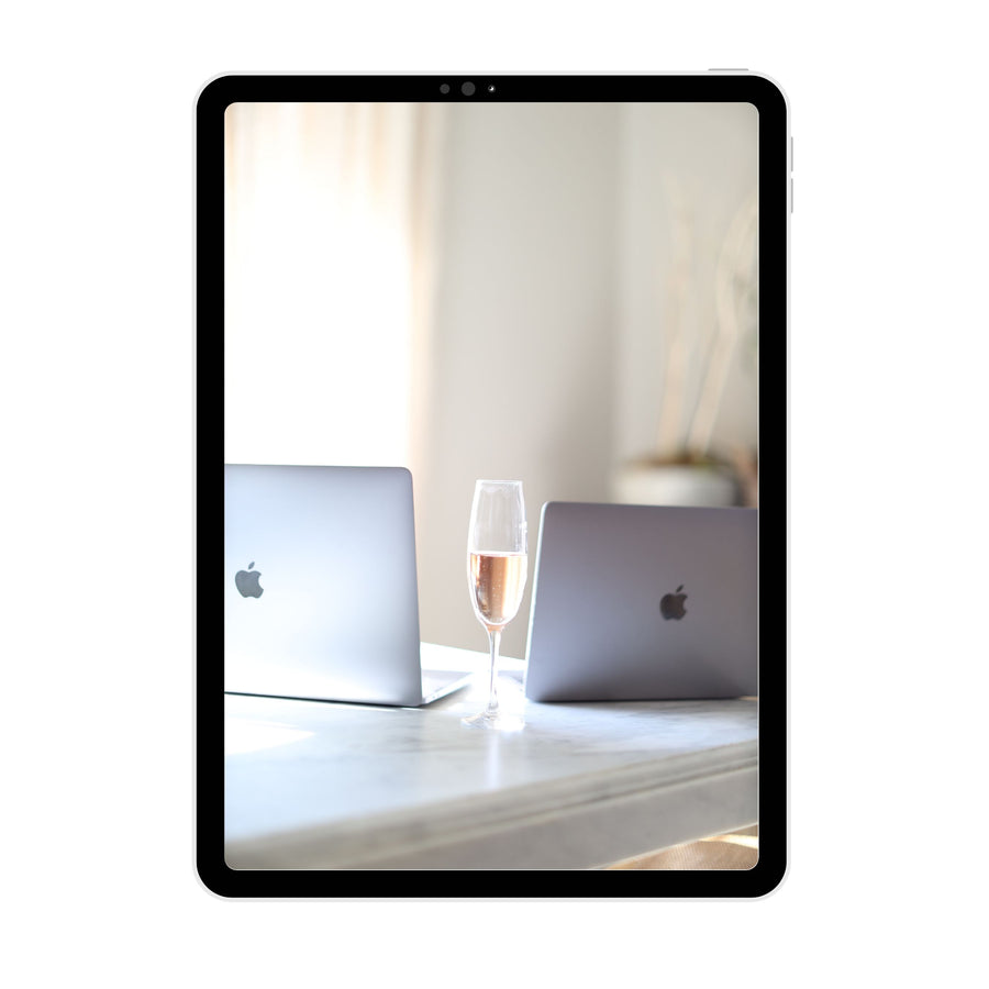 Brand Photography | Two Laptops and Champagne