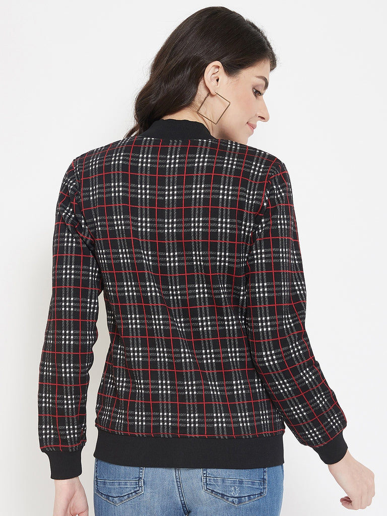 Austin Wood Women's Black Full Sleeves Checked Bomber Neck Sweatshirt With Zipper