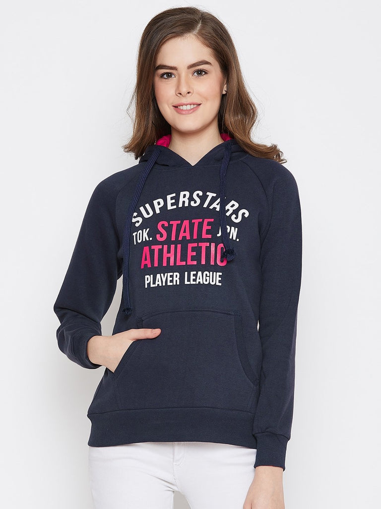 Women's Navy Blue Printed Long Sleeves Hooded Sweatshirt