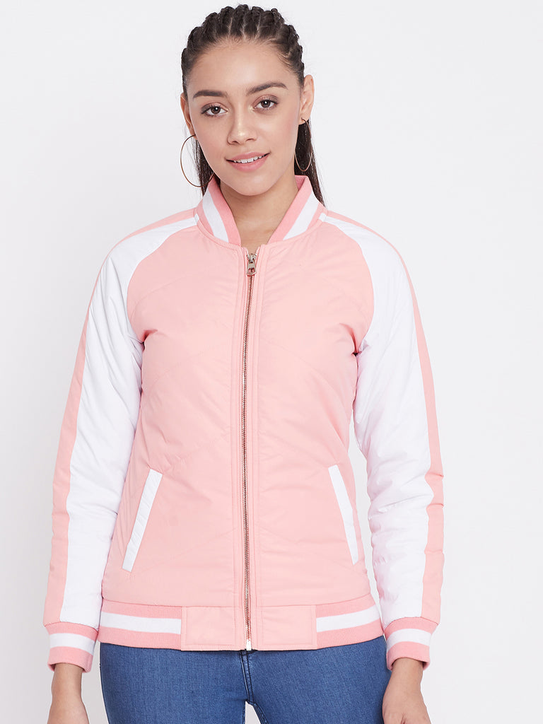 Austin Wood Women's Peach Colorblocked Bomber Neck Zipper Jacket