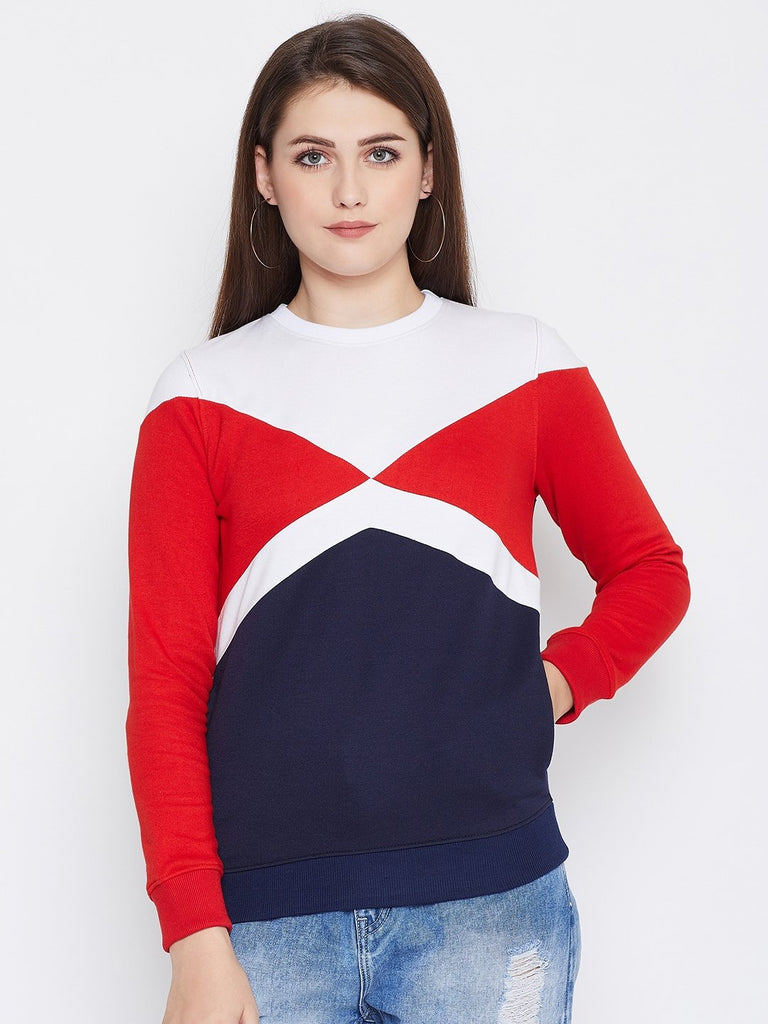 Women's Red Colorblocked Long Sleeves Round Neck Sweatshirt
