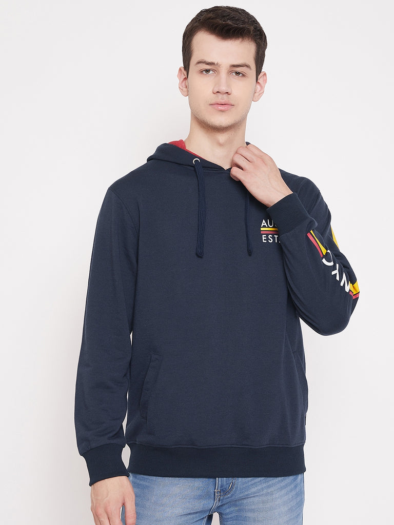 Austin Wood Men's Navy Blue Full Sleeves Hooded Solid Sweatshirt