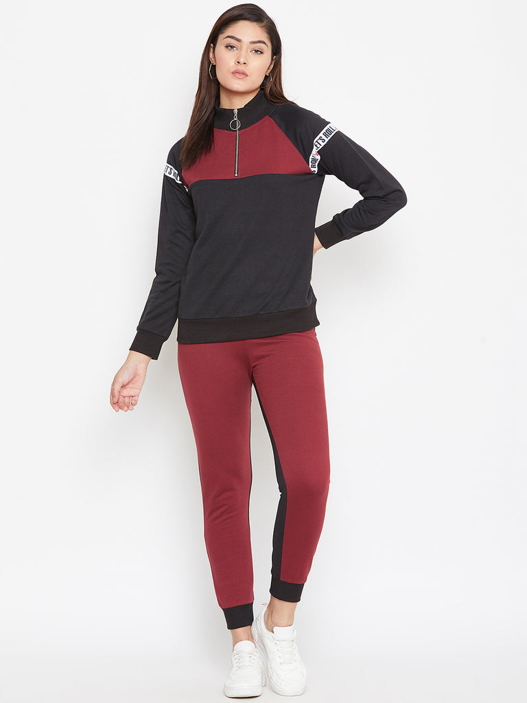 Austin Wood Women'sBlack Full Sleeves Colorblocked High Neck Tracksuit