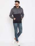 Austin Wood Men's Charcoal Full Sleeves Colorblocked Hooded Sweatshirt