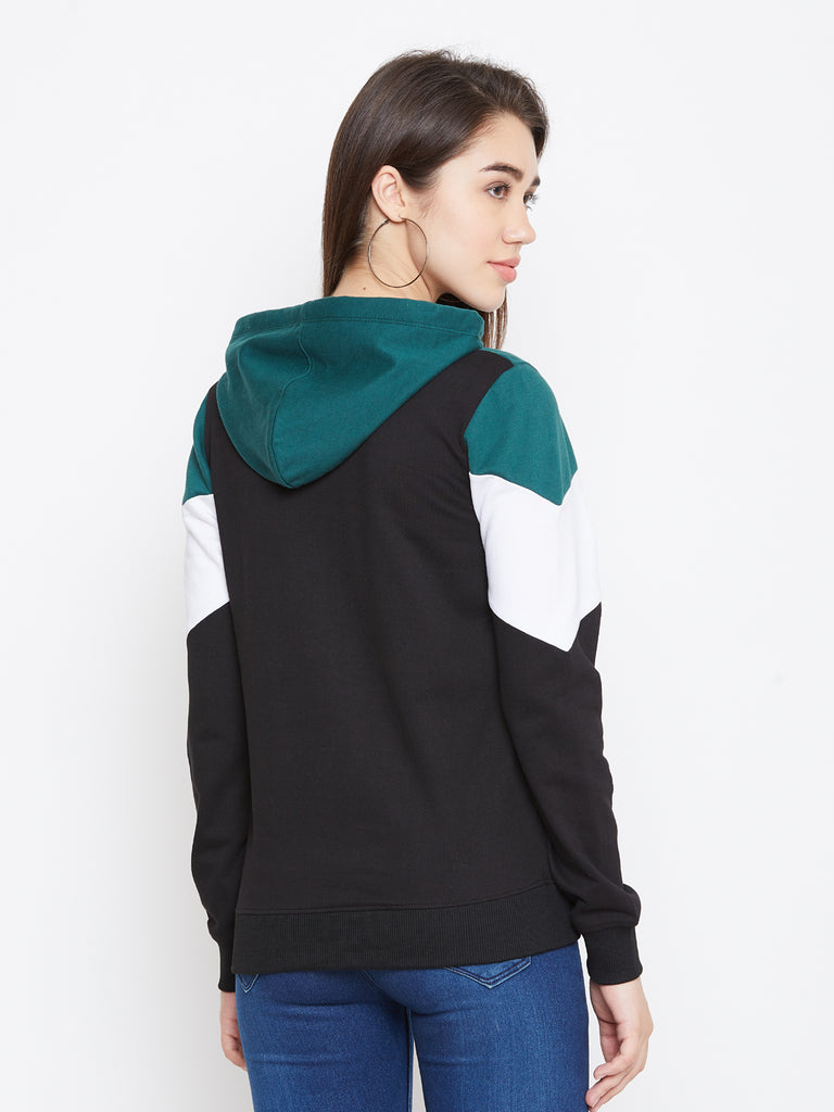 Women's Multi Colorblocked Long Sleeves Hooded Sweatshirt