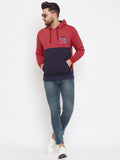 Austin Wood Men's Red Full Sleeves Colorblocked Hooded Sweatshirt